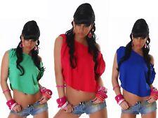 Camicia Blusa Top Donna Chiffon Tunica Corta T-Shirt Maglia Sexy Feste Party