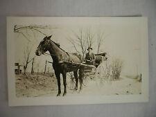 Vintage Real Photo Postcard Man In Horse-Drawn High-Wheel Buggy Unused
