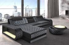 Ecksofa Samtstoff Couch mit Relaxfunktion LED und USB BERLIN L in dunkelgrau