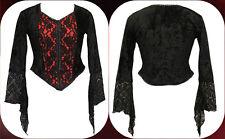 Dark Star Red Velvet & Black Lace Gothic Vampire Witch Top Top Freesize 12-16