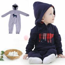 New Baby Boy Infant Cotton Romper Bodysuit Jumpsuit Hooded Clothes Outfit Zipper