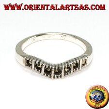 Anello in argento 925  con marcasite ( fedina a V )