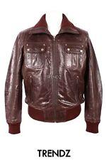 Men's hornet brown (7770) bomber style designer véritable cuir d'agneau veste en cuir