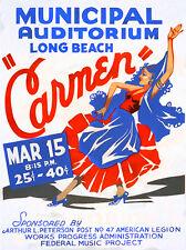 Carmen - 1936 - Long Beach Municipal Auditorium - Show Poster