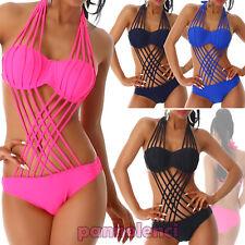 Monokini femme maillot de bain tressé lacets push-up mer neuf S16136