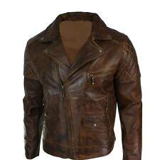 Mens Biker Vintage Washed Tan Brown Real Leather Jacket Cross Zip Retro Casual