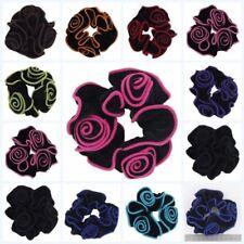 Nouveau Belle Fleur Rose en Velours cheveux chouchous Ponytail Holder Pompon Cheveux Cravate UK