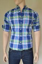 NUOVO ABERCROMBIE & FITCH Bushnell cade Camicia Blu Verde a Quadretti Check M Prezzo Consigliato £ 82