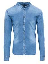 Camicia di Jeans uomo Diamond casual blue denim con collo alla coreana slim fit