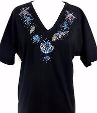 S M L XL Rhinestone Embellished Seashells Neckline Short Sleeve Top
