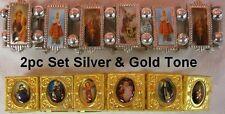 2pc SET GOLD AND SILVER TONE ROSARY SAINTS BRACELETS cross charm prayer bead G60