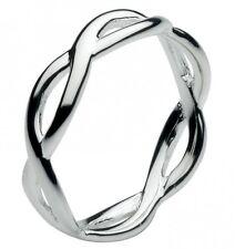 Rocío sólido 925 plata esterlina abierto Twist infinito del anillo gran para el pulgar o dedo