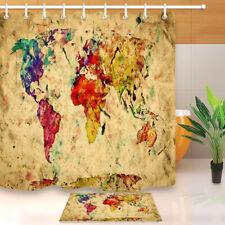Shower Curtain World Map Nostalgic Historical Atlas Vintage Waterproof Fabric