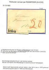NEDERLAND 1862 BRIEF NYKERK= ARNHEM =PER RIJN SPOOR=!!!LABEL