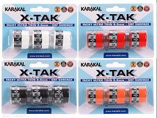 3 Karakal X-Tak Grips/Overgrips - Choice Of Colours - Free P&P
