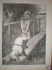 Camminare sulla passerella Ragazza con stampa cane riluttante 1893