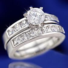 9K GOLD GF LADY ETERNITY SQUARE DIAMOND WEDDING ENGAGEMENT SOLID RING BRIDAL SET