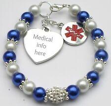 Womens Children Fashion Medical ID Alert Identity Bracelet Contact Allergy Info