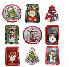 Xmas Christmas Tin Boxes Tins Storage Round Square Transparent Tree Shape UK NEW
