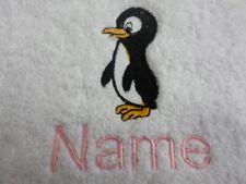 bébé PINGOUIN et Nom design brodé sur Serviettes,Peignoir De Bain,