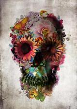 ZUCCHERO Cranio Fiori rose POSTER I MORTI Wall Art foto STAMPA POSTER A3 A4