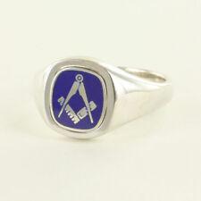 Wendekissen Blue Kopf Solides Silber Quadrat und Kompass Freimaurer Ring