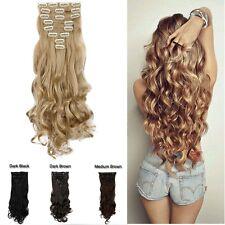 100% Natural Real Full Head Clip in Hair Extension 8pcs Long False Hair Piece h3