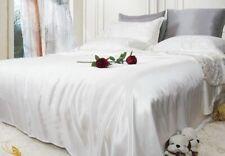 100% Seide Silk Bettwäsche Bettbezug + Kissenbezug  2-tlg 16MM Weiß Einfarbig