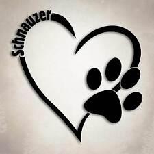 Schnauzer Dog Love Decal Paw Heart Sticker Car Laptop Puppy Animal Rescue