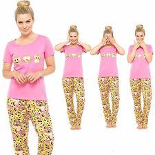 Ladies Cotton Short Sleeve Emoji 3 Wise Monkeys Pyjama Set Nightwear Size 8-22
