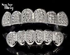 Diamond Cut Custom Fit Grills Silver Tone Top Bottom Hip Hop Teeth Grillz