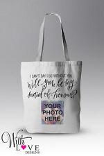 È personalizzato il mio MAID d'onore FOTO tote shopper shopping bag MATRIMONIO REGALO