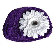 bonnet crochet lilas violet + fleur blanc bonnet bébé coton Pince à cheveux 1-5