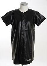 SCARCEWEAR LADIES BLACK LEATHER BASEBALL JERSEY DRESS LONG SHIRT SIZE 8 10 12 14