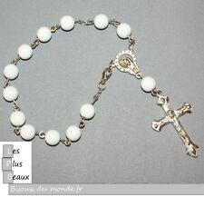 Bracelet CHAPELET CRISTIANO ROSARY BLANC perle 7,5mm NEUF  CHOIX