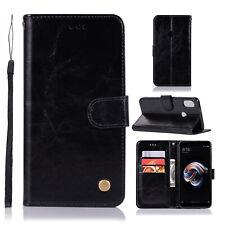 For Xiaomi 6X/ Redmi Note 5 Pro Retro Leather Case Card Slots Wallet Flip Cover