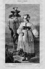 Stampa antica BATTESIMO Padrino Madrina costumi del Tirolo Tyrol 1869 Old Print