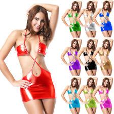 Women's Shiny Metallic Patent Leather Sexy Lingerie Tight Mini Dress Clubwear