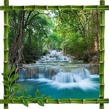 Sticker mural trompe l'oeil déco bambou Rivière réf 912