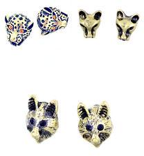 Vintage style crystal eye bronze leopard / wolf stud earrings