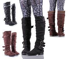 Casual Women Faux Suede Buckle Side Zipper Low Heels Knee-High Boot Size 5.5-10