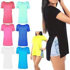 Womens Ladies Short Sleeves Basic Side Cut out Dep Hem Crop Vest Top Tee T shirt