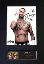 CM PUNK WWE Signed Mounted Autograph Photo Prints A4 415