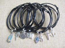 Black Real Leather Cord Tibetan Silver Charm Bracelet Anklet Adjustable Surf