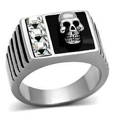1057 MENS MANS SKULL RING STAINLESS STEEL SIGNET GOTH SIMULATED DIAMOND ONYX