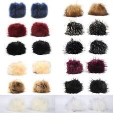 Womens Winter Faux Fox Fur Hair Soft Wrist Band Ring Cuff Arm Warmer Gloves
