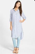NWT RAILS 'Miranda' Stripe Button Front Tunic Blue Stripe Sz L