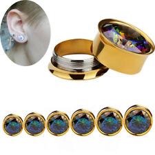 Zircon Crystal Screw Ear Gauges Flesh Tunnels Plugs Stretchers Expander Earring&