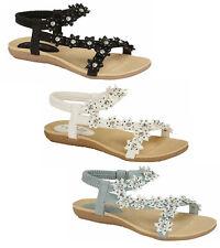 Womens Sandals Jo & Joe Gladiator Sandals Flower Elastic Strap Sandals Flip Flop
