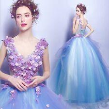 Blue V-Neck Flower Applique Wedding Dress Cocktail Bridal Gown Custom Plus Size